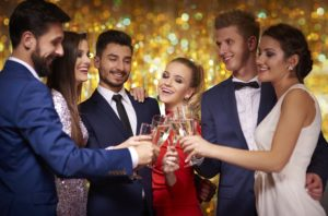 Formal New Years Eve Event with people dressed up