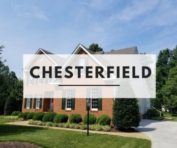 Front of brick home with Chesterfield text