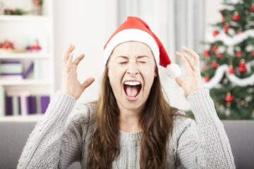 Person with a Santa Hat screaming