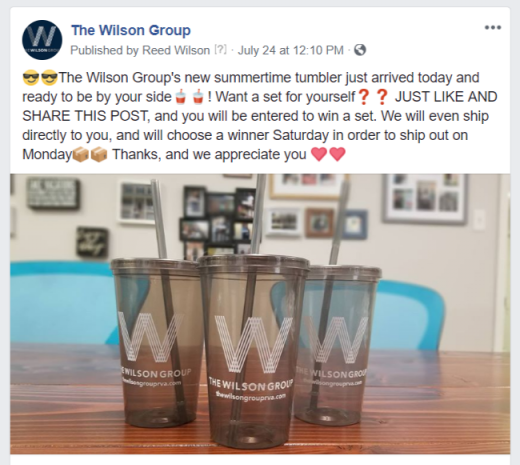 Facebook post form The Wilson Group showing our 2018 summer tumblers