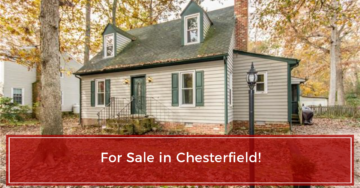 tan house for sale in Chesterfield with green shutters and vinyl siding