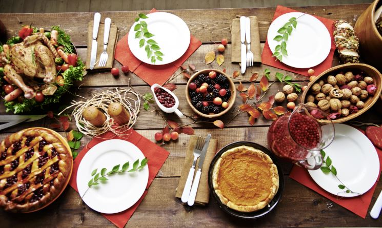 Thanksgiving Dinner on Wooden Table