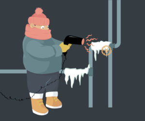 cartoon man in clothes in scarf heating up frozen pipes with a hair dryer