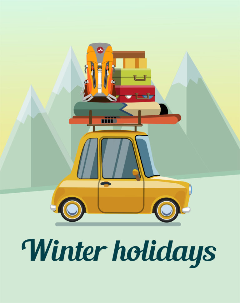 cartoon image winter holidays car with suitcases on top