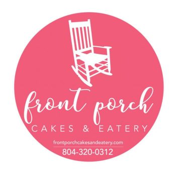 Bakery in Chesterfield County pink logo front porch cakes and eatery with a white rocking chair