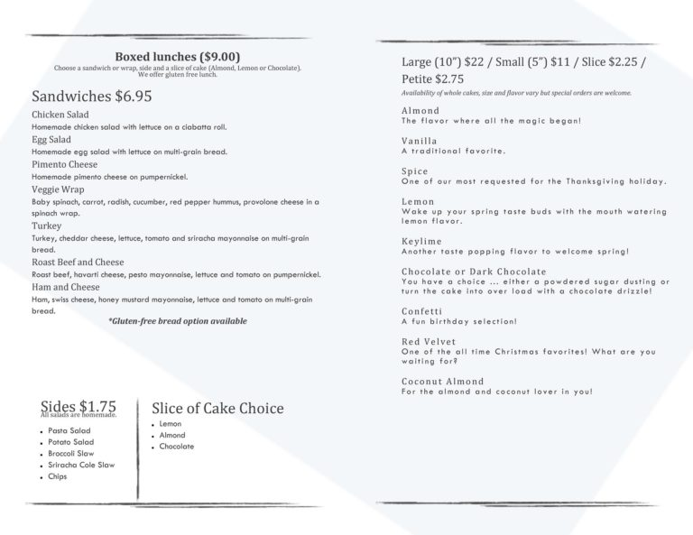 menu Bakery in Chesterfield County