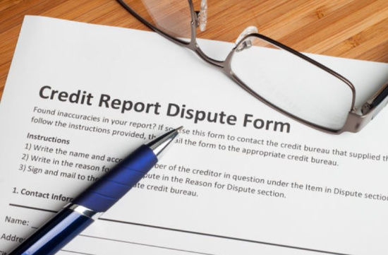 Credit Dispute form with pen