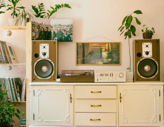 Stereo cabinet and records