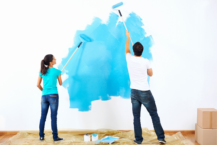 painting a wall blue